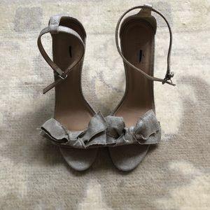 J. Crew Silver Linen Bow Heels size 8